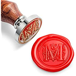 Mceal Wax Seal Stamp, Silver Brass Head with Wooden Handle, Regal Letter A to Z Series (Letter M)