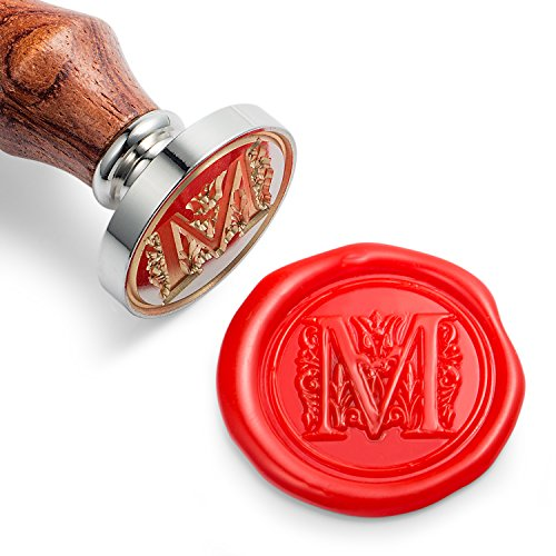 Mceal Wax Seal Stamp, Silver Brass Head with Wooden Handle, Regal Letter A to Z Series (Letter M) ()