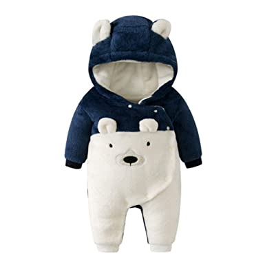 2dfb460b1 Xinvision Newborn Hooded Romper - Baby Boys Girls Warm Thicker ...