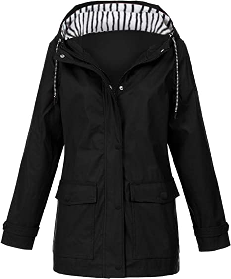 Women Solid Rain Jacket Outdoor Plus Waterproof Hooded Raincoat Windproof Black