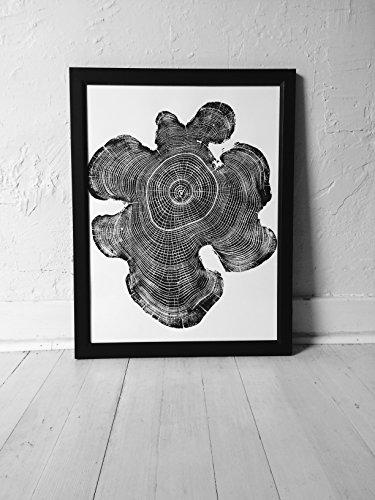 Transitional Terra Cotta - Tree ring art print, Ohio Locust Tree, Handmade woodblock print