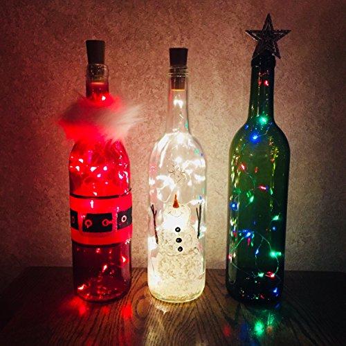 Holiday Wine Bottle Decorations with Lights - Santa, Snowman, Christmas Tree, Wine Bottle Decor, Wine Bottle Crafts, Holiday - Bottle Snowman Craft