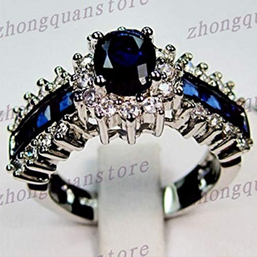 Size5-12 Oval Cut Blue Sapphire Crystal Ring 10KT White Gold Filled Wedding Band sz8