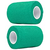 PPDD Self Adherent Bandages Cohesive Wrap First Aid Tape Band Elastic Non-woven for Finger Elbow Knee Toe Wrist Ankle Athletic Sports Pet Supply 4 Inch X 5 Yards 2 Count (Lake Green)