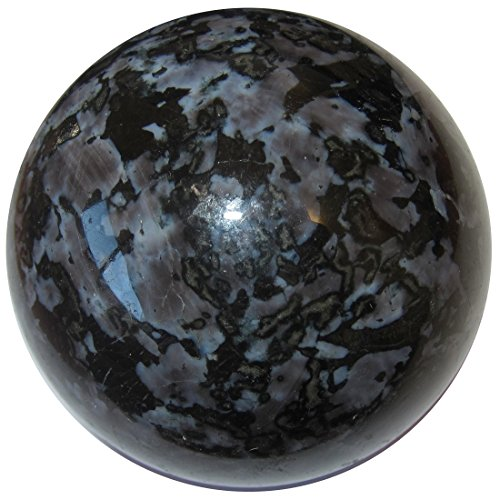 Mystic Gazing Ball - Gabbro Ball 53 Mystic Merlinite Purple Indigo Black Matrix Sphere Magic Stone Crystal 2.8