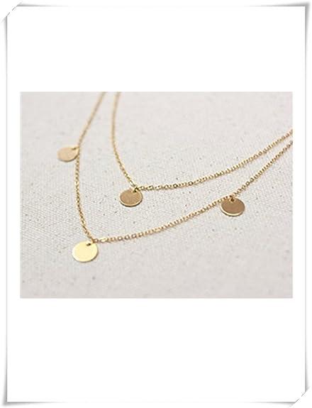 Disc Schichtung Halskette Runde Münze Halskette Gold Schichtung