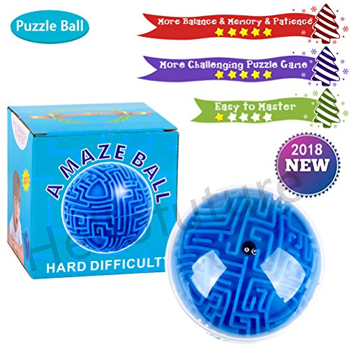 Mini 3D Magic Maze Puzzle Ball Cube Game Globe Sphere Bulk Labyrinth Toys Brain Teaser Game Learning Education Puzzle Toys Gifts (Hard difficulty) ()