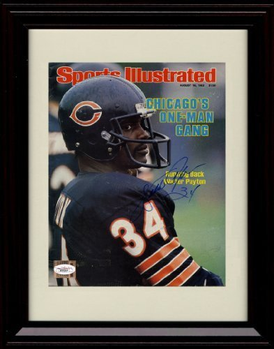 Cover Walter Payton - Framed Walter Payton Sports Illustrated Autograph Print - 8/16/82
