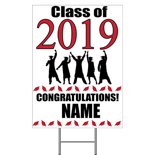 2019 Graduation Red Yard Sign (Each) Customized by -