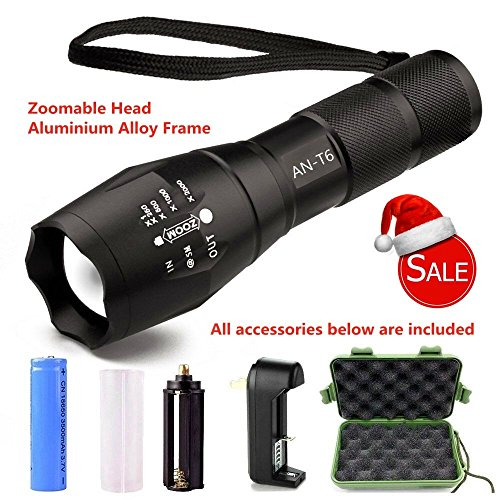 Rechargeable Police Flashlight with Stun Gun Taser Set of 5 (Black) - 2