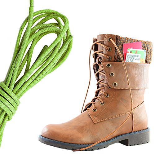 Dailyshoes Vrouwen Militaire Lace Up Gesp Combat Boots Enkel Middenkalf Fold-down Exclusieve Creditcard Zak, Lime Groen Tan Pu