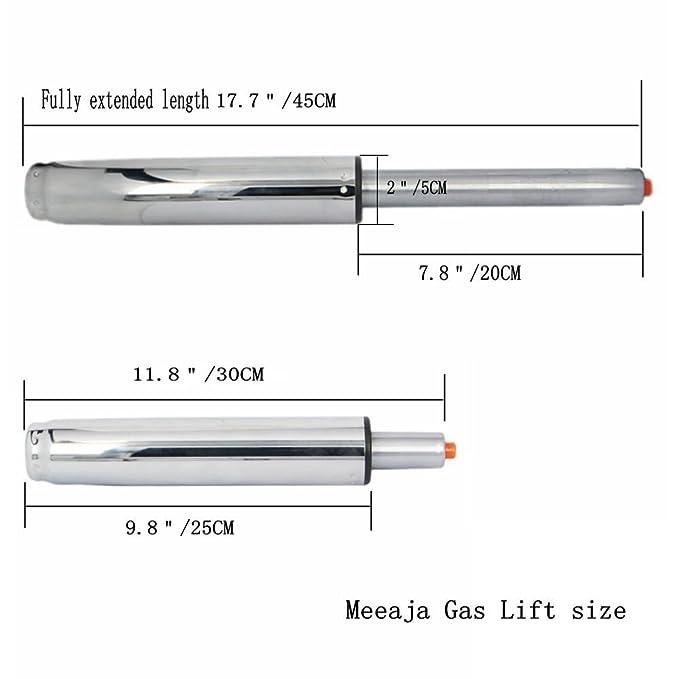 Cilindro de repuesto Meeaja para silla de oficina, de 12,7 cm, choque neumático, cilindro elevador de gas, 30,98 cm, color plateado, capacidad de ...