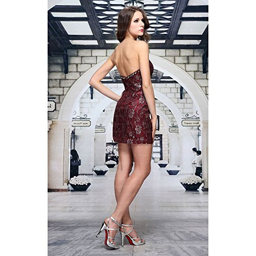 Kleid Festamo Für Damen Design Weinrot Mini Ital Spitzen xpqwIOnS