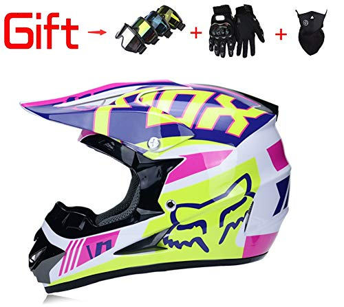 Adult Men and Women Motocross Offroad Street Dirt Bike Helmet Goggles Gloves ATV Mx Helmet,Pink,S -