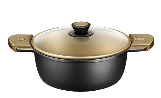 BRA - Cacerola Alta con Tapa de Cristal y Asas de Silicona,Aluminio Fundido con Antiadherente Teflon Select, aptas para Todo Tipo de cocinas incluida ...