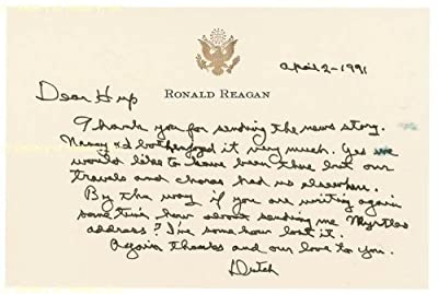 President Ronald Reagan - Autograph Letter - Signed April 2 1991