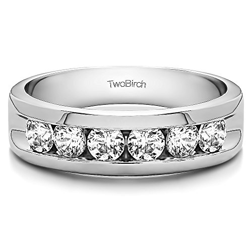 TwoBirch 0.99 ct. Cubic Zirconia Channel Set Gent's Band with Open Ends in Sterling Silver (1 ct. - Set Cubic Zirconia Gents
