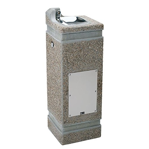 Haws 3121 Vibra-Cast Reinforced Lead-Free Square Concrete Pedestal Drinking Fountain with Exposed Aggregate (Square Pedestal Cast)
