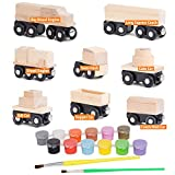 wooden train cars - Orbrium Toys 8 Unpainted Train Cars for Wooden Railway Compatible with Thomas, Chuggington, Brio, Pack of 8, 10 Pieces, Great for Birthday Party Train Theme