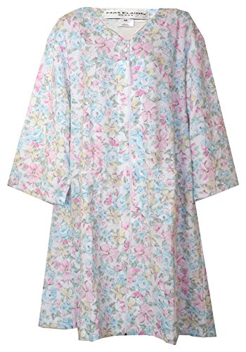 Miss Elaine Zip Front Pastel Floral Lounge Robe (All-Over Pastel Floral Pink Aqua Light Green Yellow, - Zip Front Miss Elaine