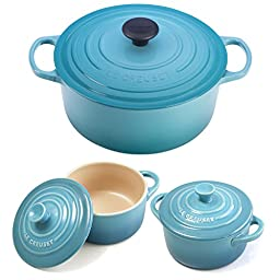Le Creuset Signature Caribbean Enameled Cast Iron 5.5 Quart Round French Oven with 2 Free Stoneware Cocottes