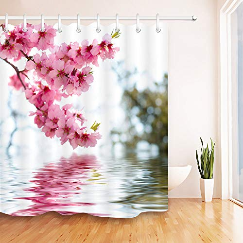 youyoutang Bathroom Shower Curtain Liner Waterproof Fabric Peach Blossom Water Reflection 3D High-Definition Printing Does Not Fade 12 Shower Hooks 70.8X70.8 Inch Home Decor Bathroom Accessories