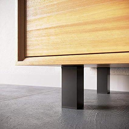 Pack of 4 Sossai/® MFV1-BM Height Adjustable Design: Matt Black Material: Aluminium Angular Profile: 40 x 40 mm Furniture Legs Wood Screws Included Height: 60 mm +20 mm