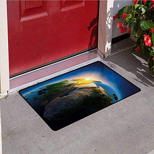(Earth Welcome Door mat Early Morning Rising Sun Scenery in Outer Space Days Cycle Calm Idyllic Vivid Door mat is odorless and Durable W35.4 x L47.2 Inch Blue Green Yellow)