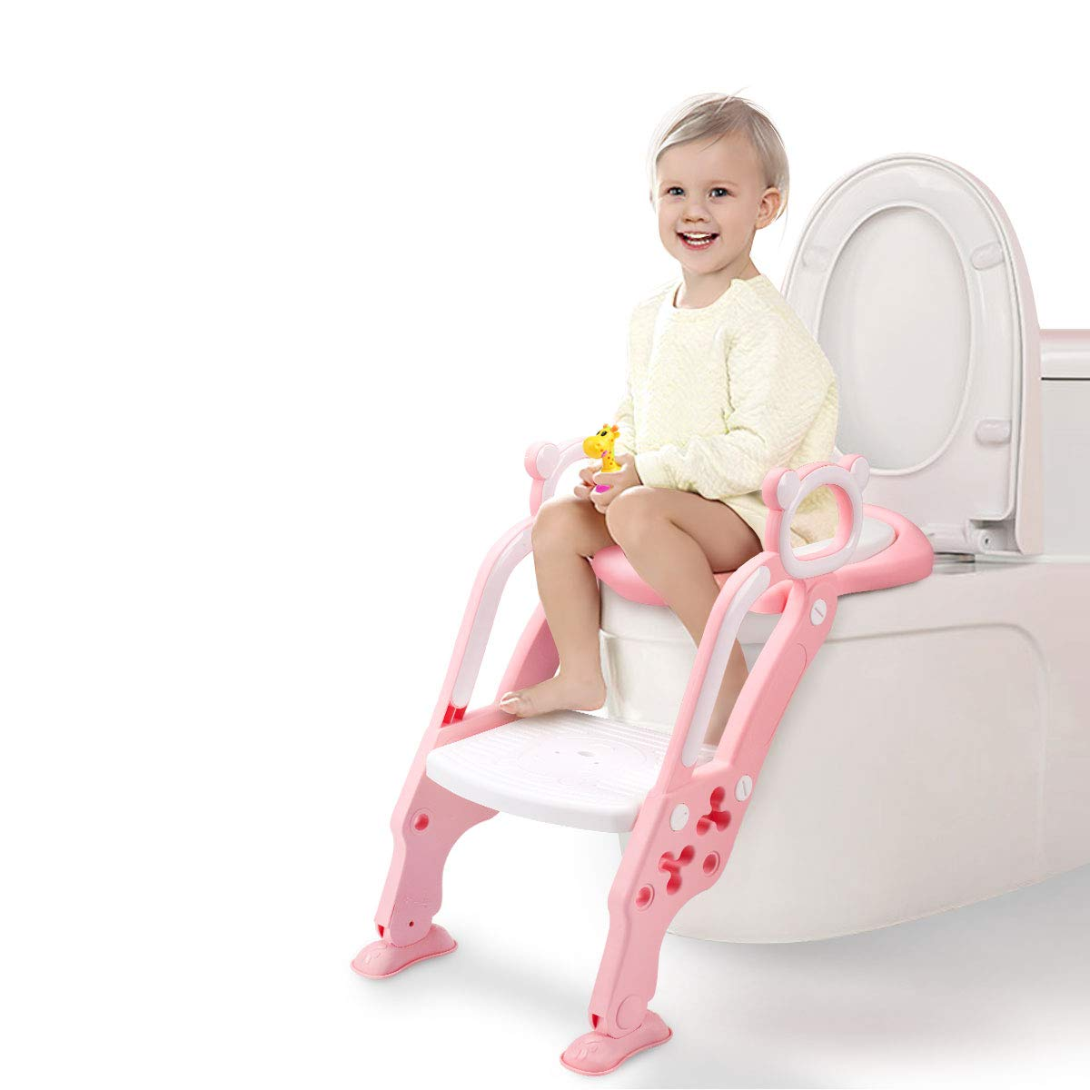 GrowthPic Toddler Toilet Training Seat Ladder with Sturdy Non-Slip Wide Step and Soft Cushion for Girls by GrowthPic