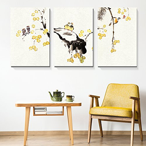 s Wall Art - Chinese Ink Painting Style Birds on Tree Branch with Small Yellow Fruits - Giclee Print Gallery Wrap Modern Home Decor Ready to Hang - 16