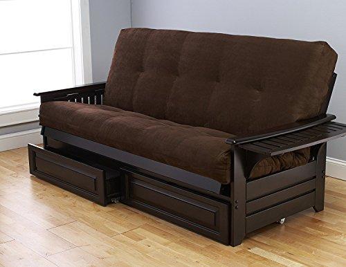 Queen Size Phoenix Espresso Frame w/ 7 Inch Mattress Microfiber Suede Futon Set Wood Sofa Bed (Chocolate Mattress, Frame w/Drawers (Queen Size))