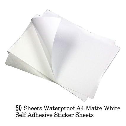 50 hojas de papel adhesivo de calidad, impermeable, A4 ...