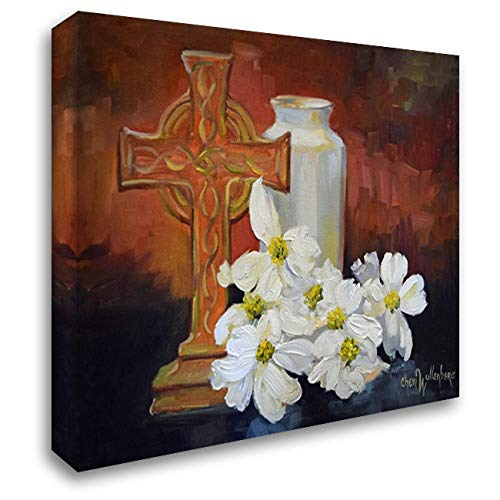 Cross and Dogwood 24x19 Gallery Wrapped Stretched Canvas Art by Wollenberg, Cheri