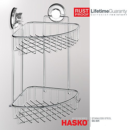 HASKO accessories - Suction Cup Corner Shower Caddy | 304 Stainless Steel Polished Chrome Shelf 2 Tier Basket Holder for Bathroom and kitchen