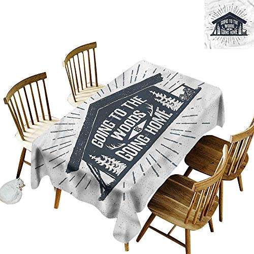 Sillgt Fashions Rectangular Table Cloth Cabin Wooden Cabin Chalet Quote Resistant/Spill-Proof/Waterproof Table Cover 60