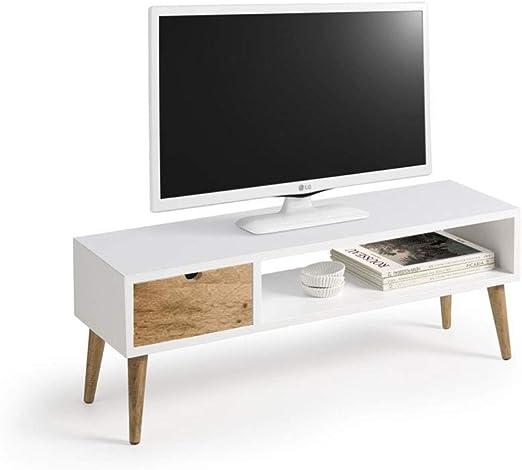 Mesa televisión, Mueble TV salón diseño Vintage, cajón y Estante, Color Blanco. Medidas 100 cm x 40 cm x 30 cm…: Amazon.es: Juguetes y juegos