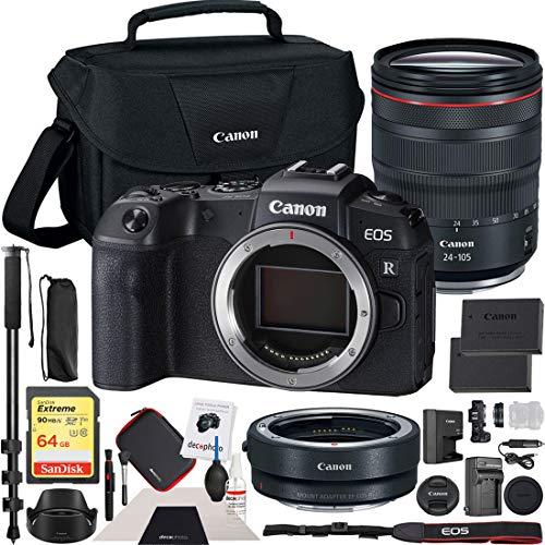 Canon EOS RP Mirrorless Camera with RF 24-105mm F4 L is USM Lens Kit Bundle with Lens Mount Adapter, 64GB Memory Card, Shoulder Bag, Battery and Charger Kit, Monopod and Cleaning Kit