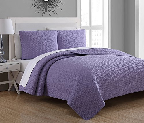 Estate Brand, Tristan Cotton Quilt Bedding Set, Wisteria, King Size - King Comforter Wisteria