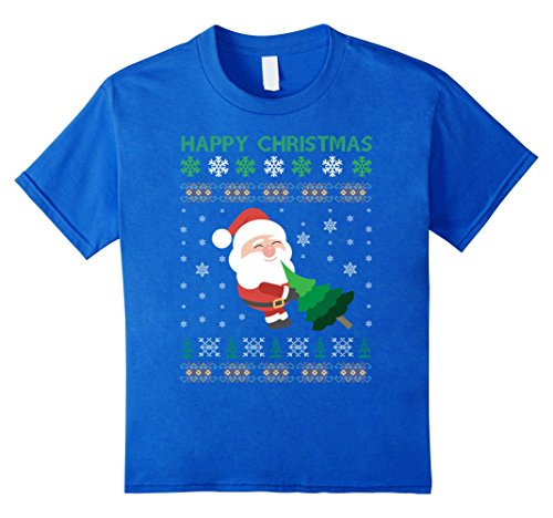 Kids Happy Halloween Ugly Christmas Sweater Tree Costume T-Shirt 10 Royal Blue