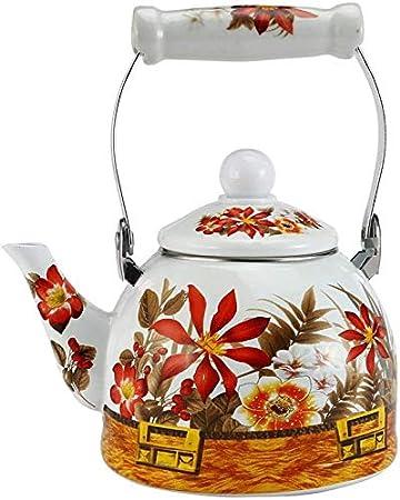 Exquisito Esmalte Tetera floral, hervidor de agua flor del esmalte Tetera de cerámica utilizado en la caldera Estufa electromagnética/Gas Rango/Electronic Tube calentador de cocina, 2L