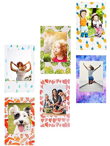 Mini Magnetic Photo Frame for Polaroid film & Fujifilm Instax Film, Refrigerator Magnets Frame for HP sprocket photo paper, Zink Photo Paper and any 2x3 Photo Paper, 6 Pack - - Instant Photo Frames