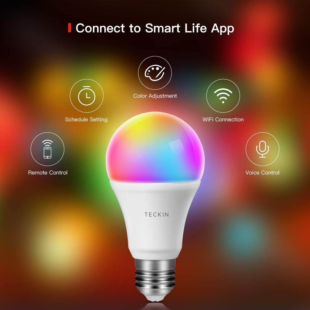 Smart LED Bulb WiFi Dimmable E27 Multicolor Light Bulb Compatible with Phone, Google Home and IFTTT (No Hub Required), TECKIN A19 60W Equivalent RGBW Color Changing Bulb (7.5W), 2 Pack by T TECKIN (Image #2)