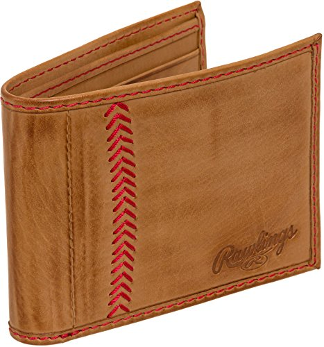 Rawlings Men's Baseball Stitch Bifold, Tan Baseball Tri Fold Wallet