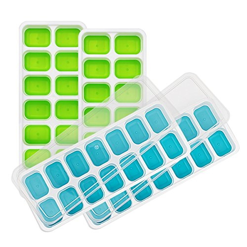 4 Packs Ice Cube Tray, cnokfan Food Grade Silicone Ice Cube Molds 14 Shaped Cubes with with Spill-Resistant Removable Lid Easy-Release Rubber Ice Molds, BPA Free