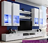 Brilliant Living Room Furniture Set - High Gloss Fronts - Display Hung on Wall Unit - TV Cabinet - 2 Shelves - LED's Included (Derby 4 / BBB)