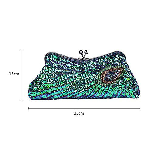 Purse and CHUANGLI Evening Handbag Glitter Beaded Peacock Wedding Gold Prom Party Clutches Bags Sequin Vintage HrqnrwIxz