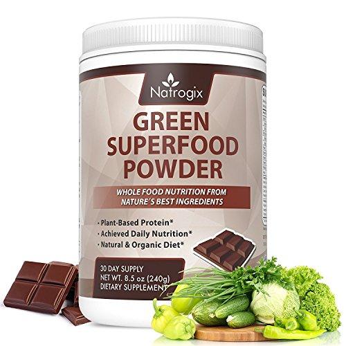 Green Superfood Chocolate, Natrogix Greens Powder Drink, Plant-Based Protein with Rich Vitamins, Minerals, Antioxidant Fruits, Wheatgrass, Barley Grass, Spinach, Alfalfa, Spirulina, Probiotics -8.5 Oz (Drink Powder)