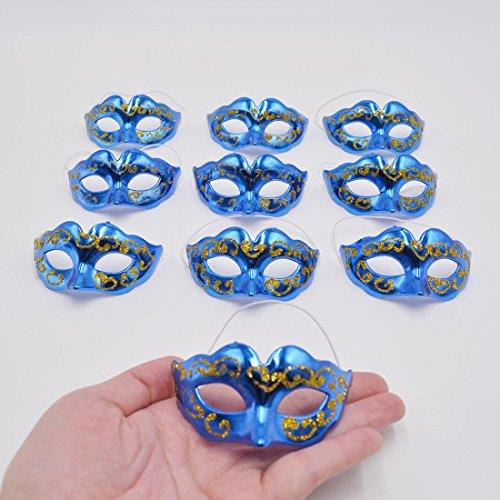 Masquerade Masks Party Decoration - Yiseng 10pcs Set Supper Mini Masks Novelty Gifts(Blue (Masquerade Mask Table Decorations)