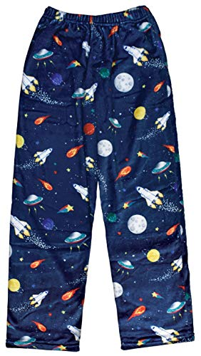 iscream Big Boys Fun Print Silky Soft Plush Pants - Outer Space, Large (14)