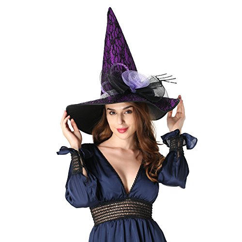 Sdsaena Womens Luxury 17.5 High Halloween Witch Hat Adult
